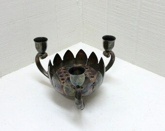 Vintage Leonard Silver Plate Lotus Candleholder With Flower Frog