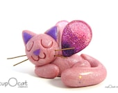 Cat Nap - A Happy Napping Cat Fairy (Pink with Purple Pink Wings)