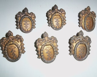 Drawer Pulls, Set of 6, Vintage, Ornate, Beautiful, Brass, Shabby, French, Hardware