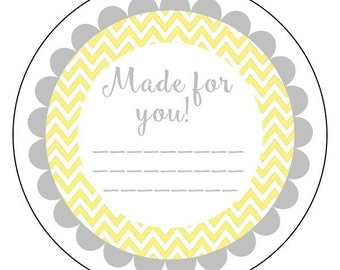 made for you stickers, gray and yellow chevron gift stickers, chevron gift stickers, available in 3 sizes