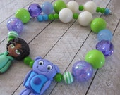 Home Tip and Oh necklace, Home birthday party, chunky necklace, Tip and Oh, Home pendant purple green