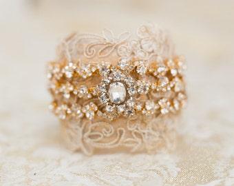 Wedding Cuff, Bridal Bracelet, Gold Bridal Cuff, Bridal Jewelry, Bridal Accessories