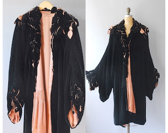 1920s Velvet Coat / Silk Leaves Coat / 20s