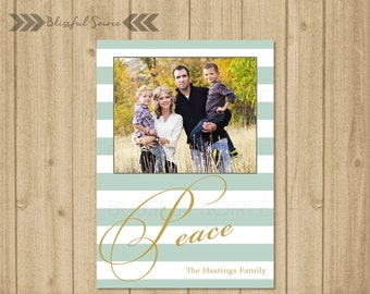 Peace Holiday Card | Photo Christmas Card | Christmas Card | Holiday Photo Card | DIY Printable | Mint and Gold Holiday