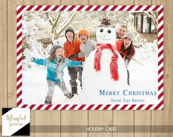 Custom Photo Christmas Card | Christmas Card | Merry Christmas |  Holiday Photo Card | DIY Printable | Candy Cane Border | Holiday Card