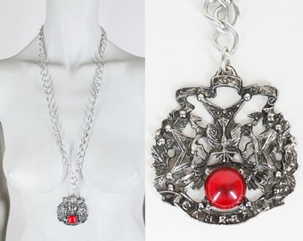 Vintage 60s Necklace / 1960s Silver Tone Family Crest Long Medallion Necklace