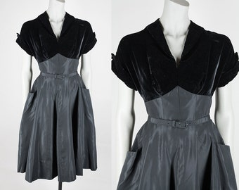 Vintage 50s Dress / 1950s Black Velvet and Taffeta Full Skirt Pocket Dress M