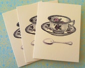 Vintage Tea Cup Pack of 3 Mini Notecards