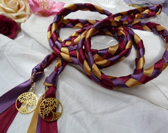 Wedding cord- Purple, burgundy red, gold - tree of life charms