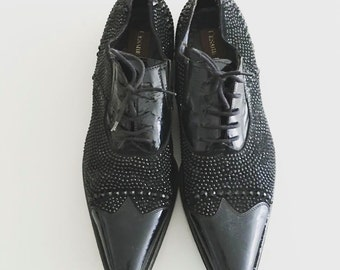 Cesare Paciotti Vintage Black Leather Rhinestone Lace Up Dress Shoes