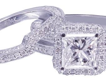 GIA H-VS2 14K white gold princess cut diamond engagement ring and band 2.50ct