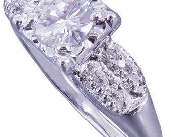 14k White Gold Round Cut Diamond Engagement Ring Art Deco Antique Style 0.80ctw H-VS2 EGL USA