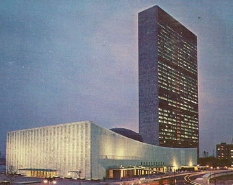 Vintage Chrome Postcard United Nations Building at Night New York 1957 with UN Cancel and Stamp
