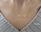 Arrow Necklace in Gold/ Silver. Large Arrow Necklace. Unisex Gift (PNL- 73)