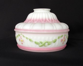 Vintage Glass Ceiling Light Fixture Shade Pink on White Shabby Chic