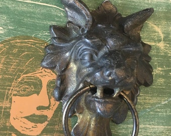 Old Gothic Gargoyle Clock Pull Part - Figural Hardware