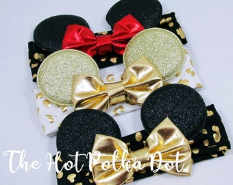 Gold White Cheetah Print Headband, Red Bow Minnie Mouse Ear Headband Messy Bow Headband Disney Vacation Shirts - Babies and Toddlers