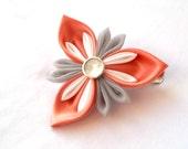 Coral and Gray Tsumami Kanzashi Flower Hair Clip