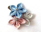 Pink and Blue Metallic Hair Flowers Tsumami Kanzashi Clip Kawaii