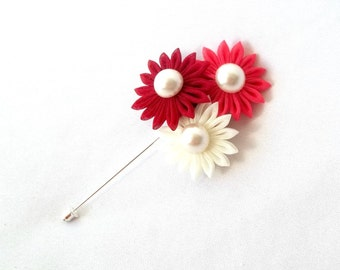 Red and Pink Kanzashi Flowers Lapel Pin Fabric Flower Jewelry Bright Colorful Gift