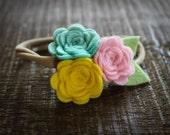 Strawberry Lemonade Felt Flower headband / baby headband / newborn headband / girl headband - Teal, Yellow and pink-