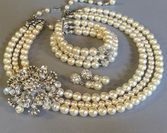 Complete Bridal Pearl Necklace Bracelet Earrings Set with Rhinestone Brooch in 3 strands of Swarovski pearls bridal wedding jewelry sets