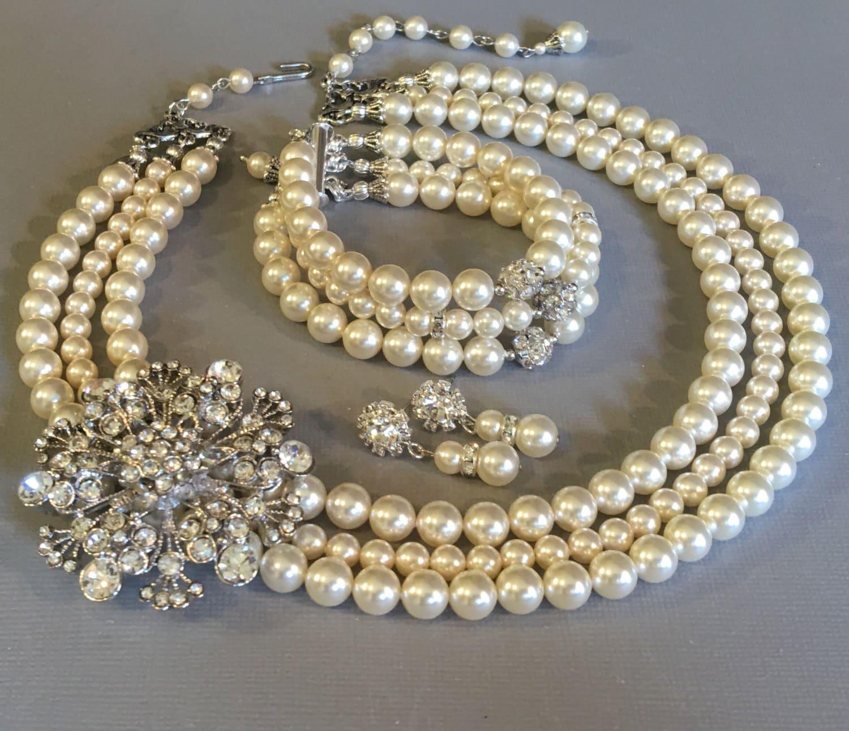 plete Bridal Pearl Necklace Bracelet Earrings Set with