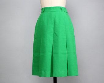 60s Mod Box Pleat Skirt S • Knee Length Skirt • Sporty Green Skirt • Pleated Skirt • High Waisted Skirt • Preppy Skirt | SK587
