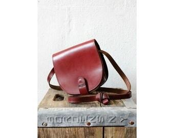 Burgundy Leather Saddle Bag • Leather Crossbody Bag w/ Long Strap • Small Leather Messenger Bag   B371