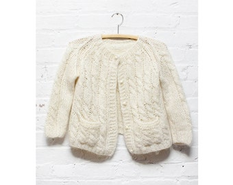 White Cropped Cardigan XS/S •  Cable Knit Mohair Sweater | T157