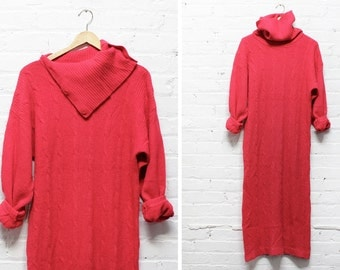 Maxi Sweater Dress with Turtleneck M • Hot Pink Sweater Dress M • Lambswool Turtleneck Sweater Dress | D512