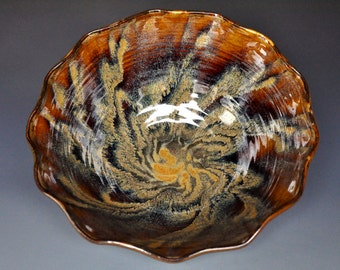 Sunburst Ceramic Bowl Pottery Pasta Bowl Ceramic Salad Bowl Handmade Pottery Bowl D