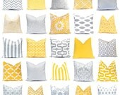 Decorative Pillow Covers  - Yellow Pillow Covers - Gray Pillow Covers - Yellow and Gray - Yellow Cushion Covers - Yellow Chevron