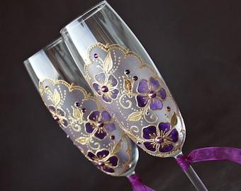 Wedding Glasses, Champagne Glasses, Purple Gold Wedding