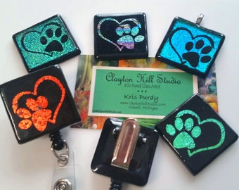 Paws Pendant or Badge Reel - dichroic glass