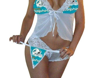 NFL Lingerie Miami Dolphins Sexy White Cami Top and Lace Booty Shorts Set Plus G-String Panty - 34D Top, Small Bottoms - Ready to Ship!