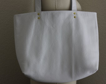 Large White Leather Tote Bag with Red Lining  *** SALE!! 20% OFF!!***