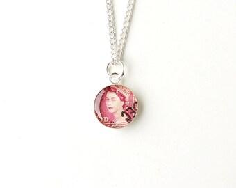 Queen Necklace, Pink Queen Elizabeth 2 Postage Stamp Pendant, Royal Jewellery, Crown Jewellery, Queen Jewellery, Philately, UK, 2334