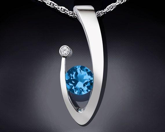 blue topaz necklace, Swiss blue topaz, statement necklace, white sapphire pendant, Argentium silver, December birthstone, artisan gift  3418