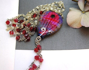 Hot Air Balloon Necklace:   Handmade Lampwork Glass  SRA UK FHFteam Y3