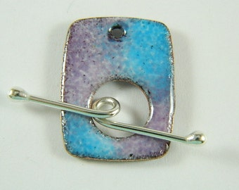 Turquoise and Purple  Rectangular Enameled Toggle Clasp and Aegentium Sterling Silver Wire Toggle Bar