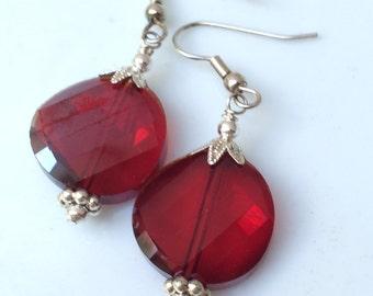 Ruby Red Dangle Earrings ~ Long Dangle Earrings ~ Drop Earrings ~ Bridesmaid Gift ~ Gifts for Her ~