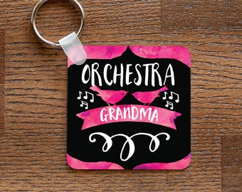 Orchestra Grandma - Pink Music and Birds Themed Keychain