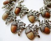 Vintage 50s Coro Gold Metal Link Faux Wood Acorn Collar Necklace