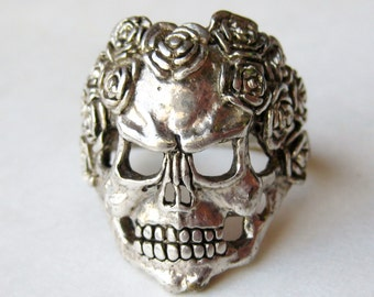 Vintage Ring Gordon Smith G&S Biker Death Skull with Roses Ring size 14 1/2