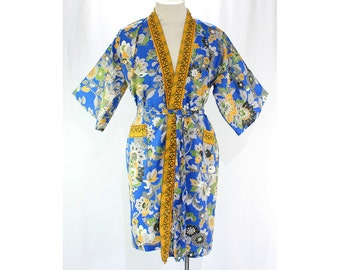 Large Asian Robe - Cobalt Blue Wild Bird & Flowers Print 1960s Wrap Front Robe - Eastern 60s Lounge Wear - Washable - Size 14 to 16 - 45771