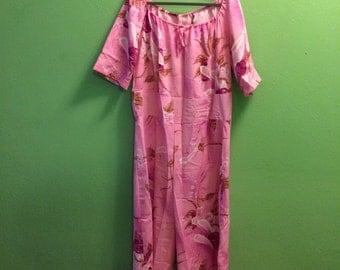SALE Pink polyester jumpsuit lounge floral one piece plus size xxl xl