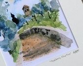 Chapel Among Olives - 8x10 watercolor print matted to 11x14