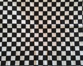 Black and White Checked Cotton Fabric 1 1/3 Yards X0578