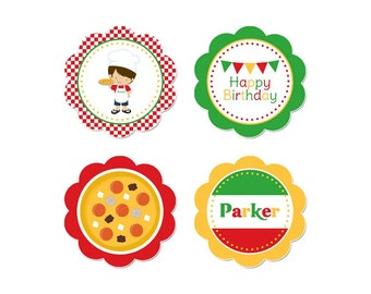 50% Off Sale! - PRINTABLE Boy or Girl Pizza Party Circles